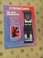 Valley Cougar Darts Arcade Darts Game Flyer, 1991 NOS