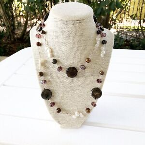 "New Genuine Pearl, Agate, Glass Long Necklace 56"" Brown White Silver"