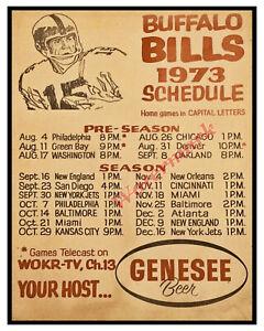 NFL 1973 Buffalo Bills / Genese Beer Pocket Schedule REPRINT 8 X 10 Photo Pic