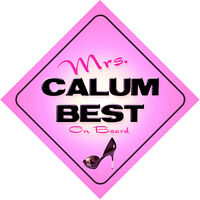 Mrs Calum Best on Board Baby Pink Car Sign