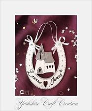 Wedding Horseshoe Personalised With Names Wooden Church Handmade Keepsake Gift