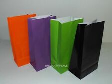HALLOWEEN PAPER PARTY BAGS--30--MIX OF  PURPLE, LIME, ORANGE & BLACK LOOT BAGS