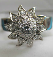 SECONDHAND 14CT WHITE GOLD 0.50CT MULTI DIAMOND FLOWER CLUSTER RING SIZE O 1/2