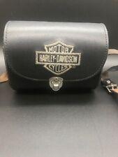 Harley Davidson Black Hard Leather Small Shoulder Barrel Bag Purse 6.5 x