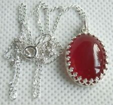 Beautiful 925 S.SILVER Red Carnelian CABOCHON PENDANT  S.SILVER CHAIN 18 inches