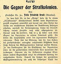 Prof. Dr. jur. Felix Friedrich Bruck Breslau Die Gegner der Strafkolonien v.1901