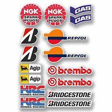 A4 Sheet - 16 x Motorbike Race Stickers Honda Kawasaki Suzuki Yamaha Bike #9758
