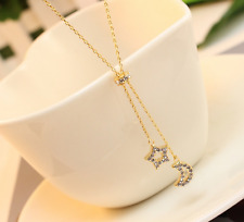 "Super Fashion ""Star & Moon"" Gold GP Cubic Zirconia Pendant Necklace"