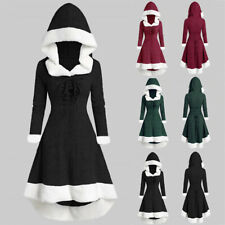 Fashion Women Winter Long Sleeve Patchwork Hooded Vintage Dress Xmas Party Dress