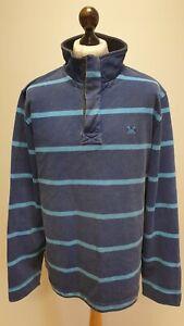 X655 MENS CREW CLOTHING BLUE LONG SLEEVE 1/4 ZIP REGULAR FIT JUMPER UK XL EU 56