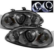 Fit 96-98 Civic Smoke Dual Halo LED Projector Headlight w/Amber Lamp EJ EK EM
