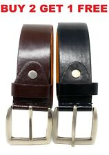 Men's Dress Causal Jeans Buckle PU Genuine Leather 1.5'' Belts Black S M L XL