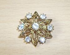 PRETTY GOLDTONE STARBURST BROOCH WITH RHINESTONES - NEW