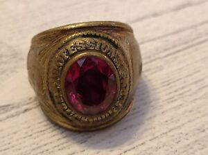 Vintage Professional Truck Driver Ring Faux Red Ruby size 10.5