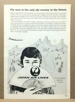 Vintage 1960 JAL Japan Air Lines Asian Woman Fan Skiing Snow Mountains Print Ad