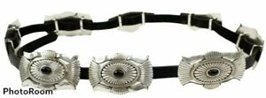 "Vintage Tony Lama Western Silver Concho Black Leather Belt 30"" C50123"