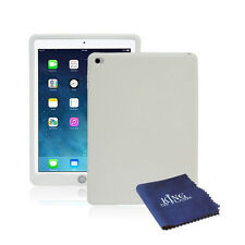 Silicone Rubber Shockproof Cover Case For iPad Air 2 + Microfiber Cloth White