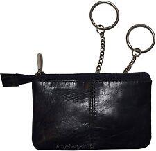 Change Purse, Leather Ladies Wallet purse mini pocket zip coin case 2 key rings