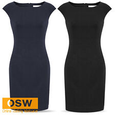 LADIES CORPORATE/CASUAL CLASSIC STRETCH WORK DRESS - NAVY/BLACK - SIZES 4-20