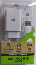 Pack adaptador para casa con un puerto USB 2.4 A y cable Lightning para iPhone
