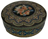 """Vintage Tin Container Made In Holland Floral Design Embossed 8"""" Round Mosaic"""