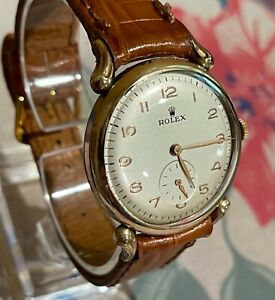 Vintage Rolex Round Gold Plated Case Fancy Lugs Runing Keep Time perfectly