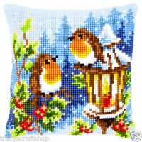 Christmas Robins Chunky Cross Stitch Cushion Front Kit 40x40cm Vervaco