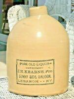 SUNNY SIDE SALOON Lebanon Kentucky Antique Whiskey Liquor Jug Crock KY JH Kearns