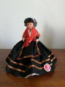 Poupée folklorique régionale Catalogne Mascotte étiquette celluloïd doll vintage