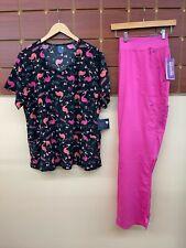 New Pink Print Scrubs Set With Wink 2Xl Top & Healing Hands 2Xl Tall Pants Nwt