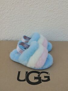 UGG PRIDE STRIPES FLUFF YEAH SLIDE SHEEPSKIN SANDALS, TODDLER US 7/ EUR 23.5 NIB