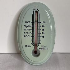 New listing Vintage Taylor Baby Bath Thermometer Blue Wooden Faux Soap Advertising On Back