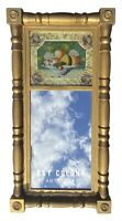 19TH C ANTIQUE SHERATON GOLD GILT MIRROR W/ REVERSE PAINTED BASKET OF FRUIT