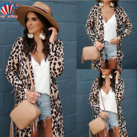 Women Leopard Print Kimono Cardigan Ladies Beach Open Front Top Long Coat Jacket