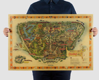 Walt Disney's Guide to Disneyland Magic Kingdom Disney Wall Map Poster 28 X 19
