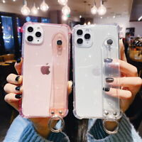 For iPhone 12 11 Pro Max XS XR 8 Plus Clear Soft Silicone Hand Strap Case Cover