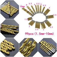 99pcs/set 1.5mm-10mm Titanium Coated Twist Drill Bits Set Tool Metric System Kit