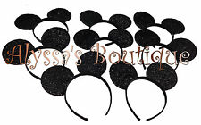 100 pcs Mickey Minnie Mouse All Black Shiny Ears *FELT* Headbands Birthday