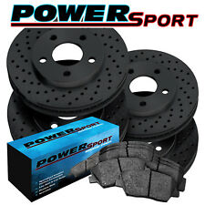 Fit Nissan Xterra, Frontier Front Rear Black Drilled Brake Rotors+Ceramic Pads