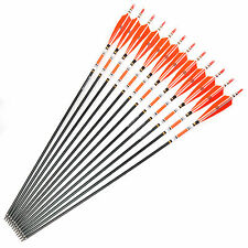 Compound&Recurvebow Aluminum Arrows Real Feathers Spine 500 OD 7.8mm Target X12