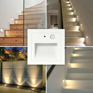 4x 3W Body Sensor LED Outdoor Wall Plinth Recessed Stair Step Hall Corner Lights
