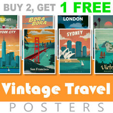 Vintage Travel Retro Posters A4 Posters Prints Art Tourism Holiday Cities Home