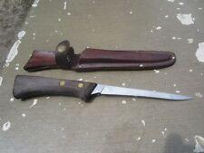 "Vintage 11"" Western Cutlery S-W766 U.S.A. Fillet Knife w/ Leather Sheath"