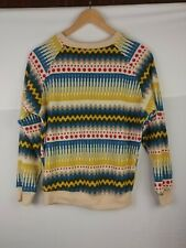 Vintage UnBranded Knit Sweater Cool Geometric Pattern Yellow Blue Red Cream Cozy