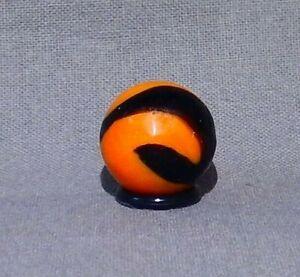 Akro Agate Orange & Black Halloween Corkscrew Marble - Vintage