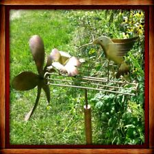 HUMMINGBIRD WHIRLIGIG KINETIC WIND SPINNER YARD STAKE DECOR Handmade FREE SHIP