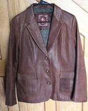 The Territory Ahead Brown Women's Leather Jacket Button Front Size 12