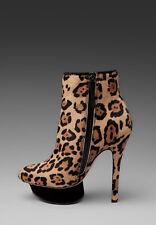 L.A.M.B. NOSS Leopard Bootie High Heels Zipper Platform  UK 4.5 US 5.5