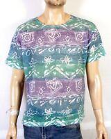 vtg 90s retro Mesh Striped Tribal Pattern VAPORWAVE Surf T-Shirt Skate sz XL