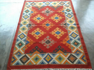 Red Flat-Weave Geometric Kilim Afghan Anatolian Turkish Oriental Area Rug 4x6 ft